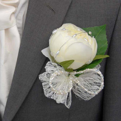 Grooms Ivory Silk Peony with Lace & Bead Bow Wedding Buttonhole