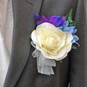 Grooms Ivory Rose, Purple Lisianthus & Blue Silk Agapanthus Buttonhole