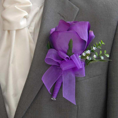 Grooms Large Purple Silk Rose, Eucalyptus & Crystal Buttonhole