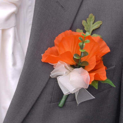 Grooms Double Orange Silk Poppy Wedding Buttonhole