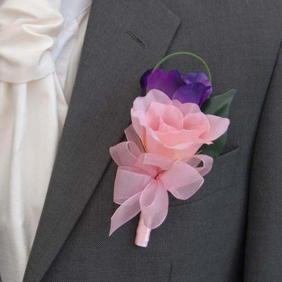 Grooms Double Pink & Purple Silk Lisianthus Wedding Buttonhole