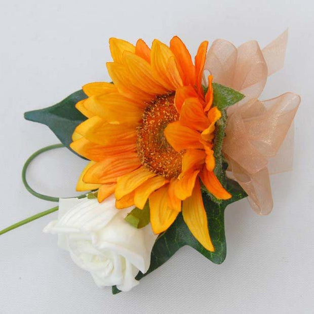 Grooms Golden Silk Sunflower & Ivory Rose Wedding Buttonhole