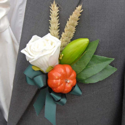 Grooms Pumpkin, Dried Wheat & Ivory Rose Wedding Buttonhole