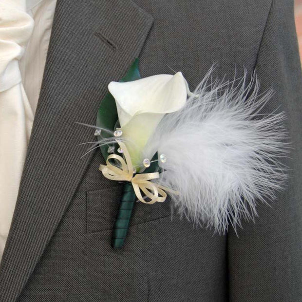 Grooms Ivory Calla Lily, Crystal & Feather Wedding Buttonhole