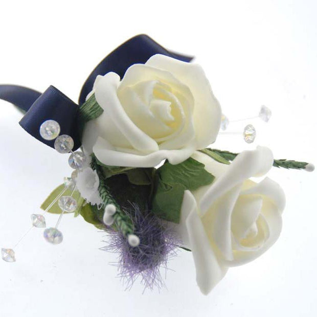 Grooms Double Ivory Rose, Thistle, Heather & Crystal Wedding Buttonhole