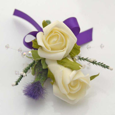 Grooms Double Ivory Rose, Thistle, White Heather & Crystal Buttonhole