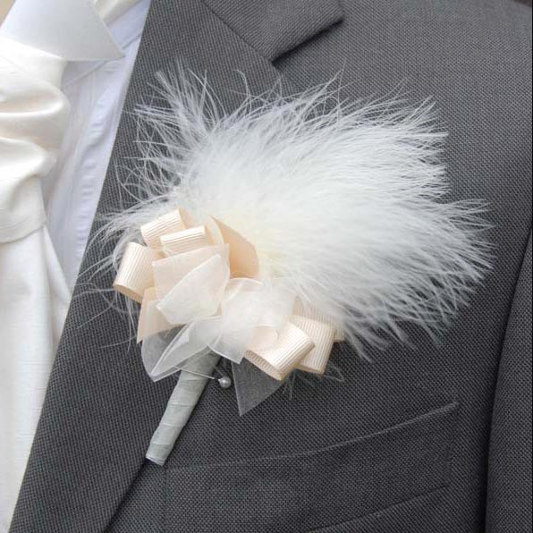 Grooms Ivory Soft Marabout Feather Wedding Buttonhole