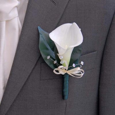 Grooms Ivory Soft Touch Calla Lily & Crystal Wedding Buttonhole