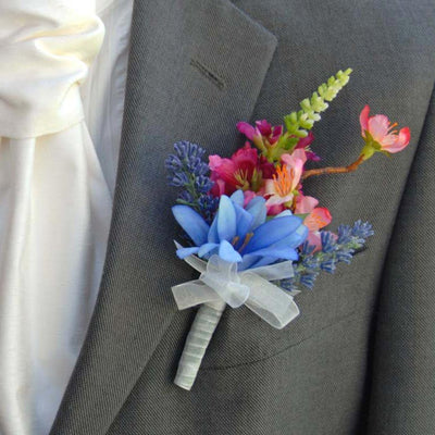 Grooms Silk Agapanthus, Pink Physostegia & Cherry Blossom Buttonhole