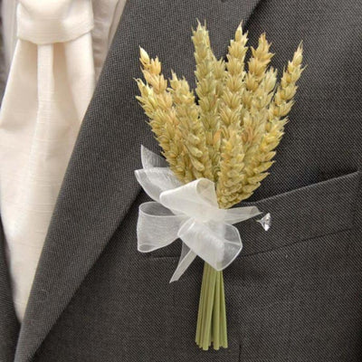 Grooms Natural Dried Wheat Wedding Day Buttonhole