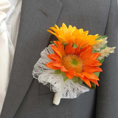Grooms Double Golden Silk Sunflower & Wheat Wedding Buttonhole