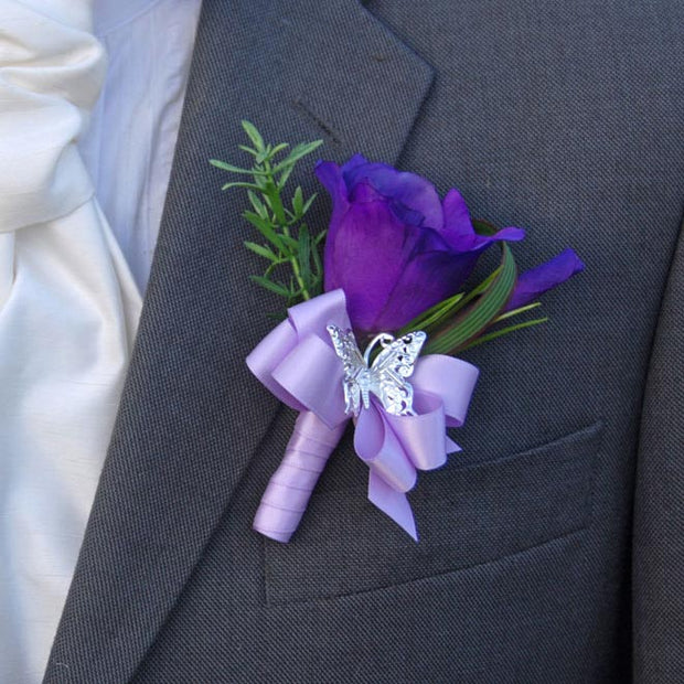 Grooms Purple Silk Lisianthus & Silver Butterfly Wedding Day Buttonhole