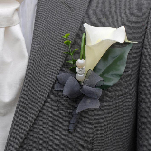 Grooms Ivory Calla Lily Wedding Buttonhole with Black Ribbon, Pearls & Mesh Beads
