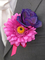 Grooms Cerise Pink Gerbera & Purple Silk Anemone Wedding Buttonhole