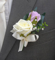 Grooms Lilac & Ivory Foam Rose Crystal Wedding Buttonhole