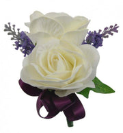 Grooms Double Ivory Foam Rose & Lilac Lavender Wedding Buttonhole