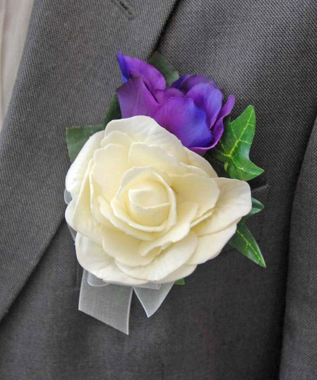 Grooms Purple Silk Lisianthus & Ivory Rose Wedding Buttonhole