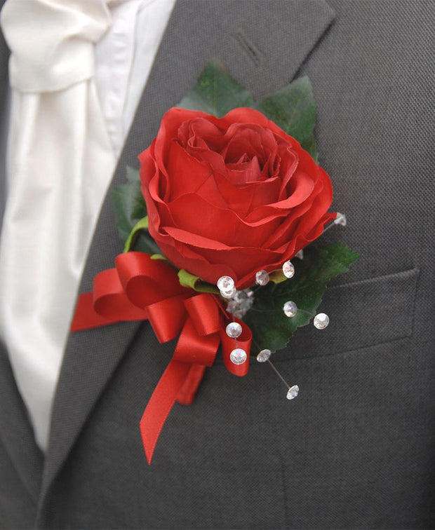 Grooms Large Red Silk Rose Buttonhole with Satin Bow and Crystals
