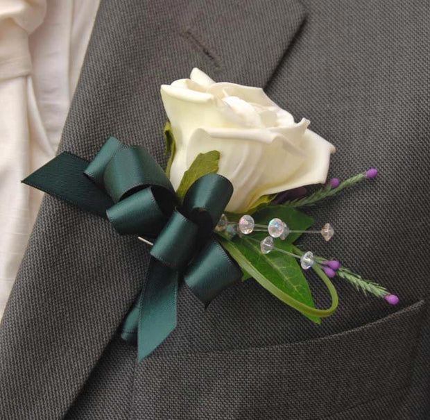 Grooms Ivory Rose. Purple Heather & Crystal Wedding Buttonhole