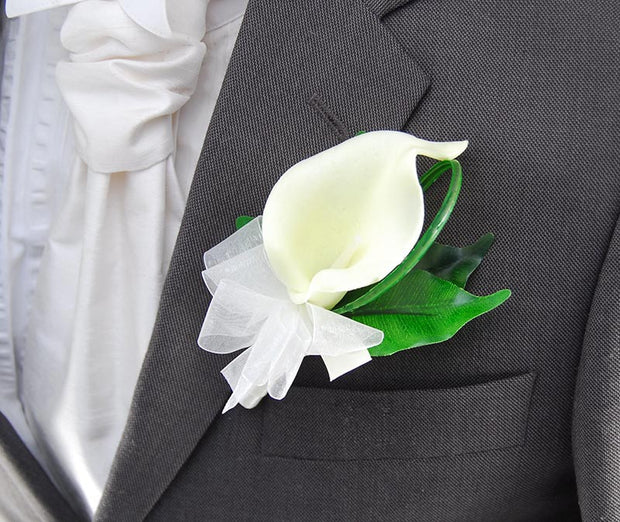 Grooms Ivory Calla Lily, Organza Ribbon Wedding Buttonhole