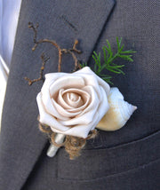 Grooms Champagne Mocha Rose, Seashell & Twig Wedding Buttonhole