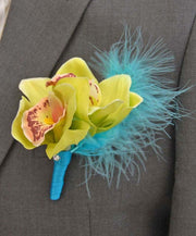 Grooms Apple Green Silk Orchid & Turquoise Feather Buttonhole
