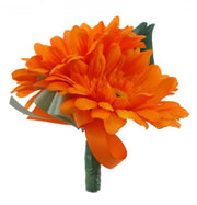 Grooms Double Orange Silk Gerbera Wedding Day Buttonhole