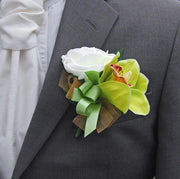 Grooms Green Silk Orchid & Ivory Foam Wedding Buttonhole
