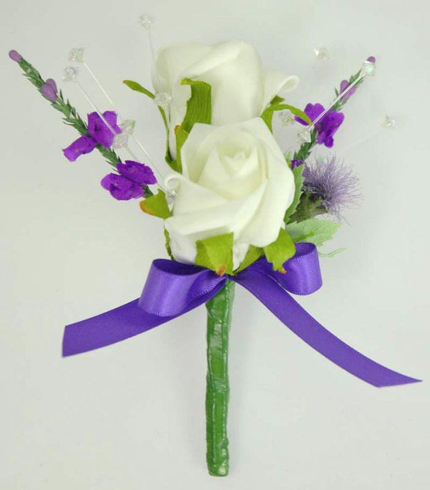 Grooms Double Ivory Rose, Crystal, Thistle & Purple Heather Buttonhole