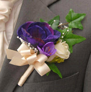 Grooms Purple Silk Anemone, Lilac Freesia & Ivory Rose Buttonhole