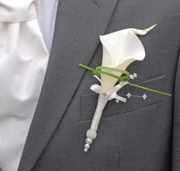 Grooms Ivory Calla Lily, Crystal & Silver Mesh Pearl Bead Wedding Buttonhole