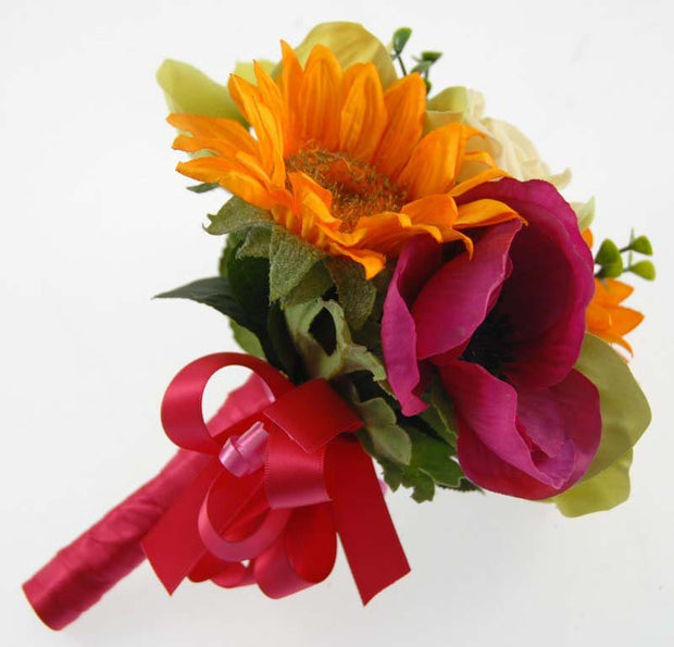 Golden Sunflower, Cerise Anemone & Green Orchid Flowergirl Posy