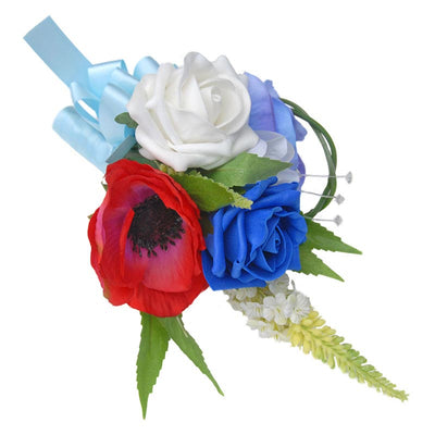 Red, Blue Silk Anemone, Veronica & Rose Wedding Cake Spray