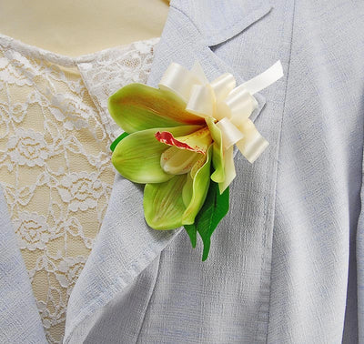 Green Cymbidium Silk Orchid Pin on Wedding Day Corsage