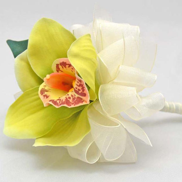 Apple Green Silk Cymbidium Orchid Flower Girl Wedding Wand