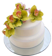 Apple Green Silk Orchid Wedding Cake Spray Decoration