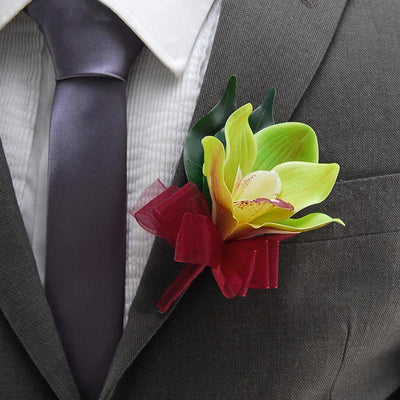 Apple Green Silk Orchid Wedding Guest Buttonhole
