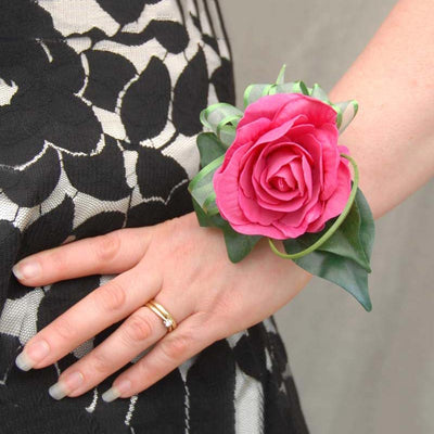 Single Cerise Pink Rose & Green Ribbon Wrist Corsage