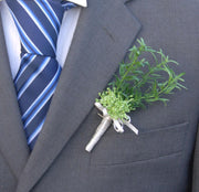 Artificial Green Rosemary Spray & Dill Wedding Guest Buttonhole