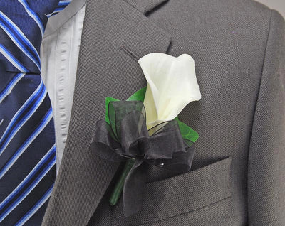 Artificial Ivory Calla Lily & Black Organza Bow Wedding Buttonhole