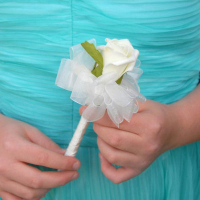 Artificial Ivory Foam Rose Childrens Mini Wedding Wand