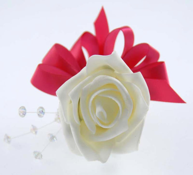 Ivory Rose, Crystal & Cerise Bow Wedding Guest Buttonhole