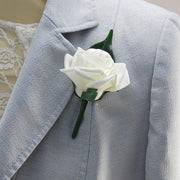 Artificial Ivory Rose Wedding Guest Buttonhole