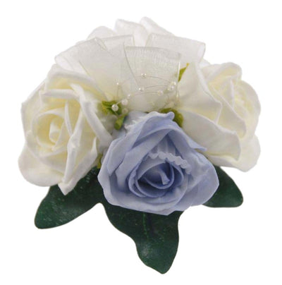 Light Blue & Ivory Rose Pearl Wedding Pin Corsage