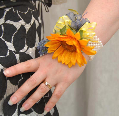 Golden Silk Sunflower & Lavender Pearl Band Wrist Corsage