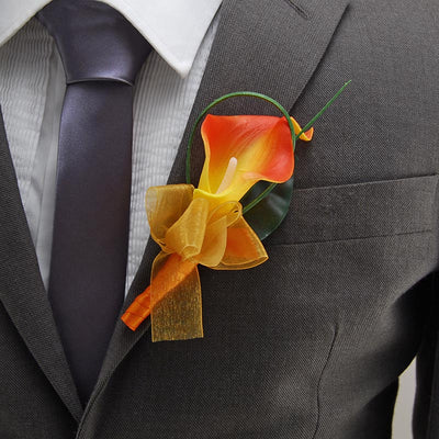 Artificial Orange Calla Lily Wedding Guest Buttonhole