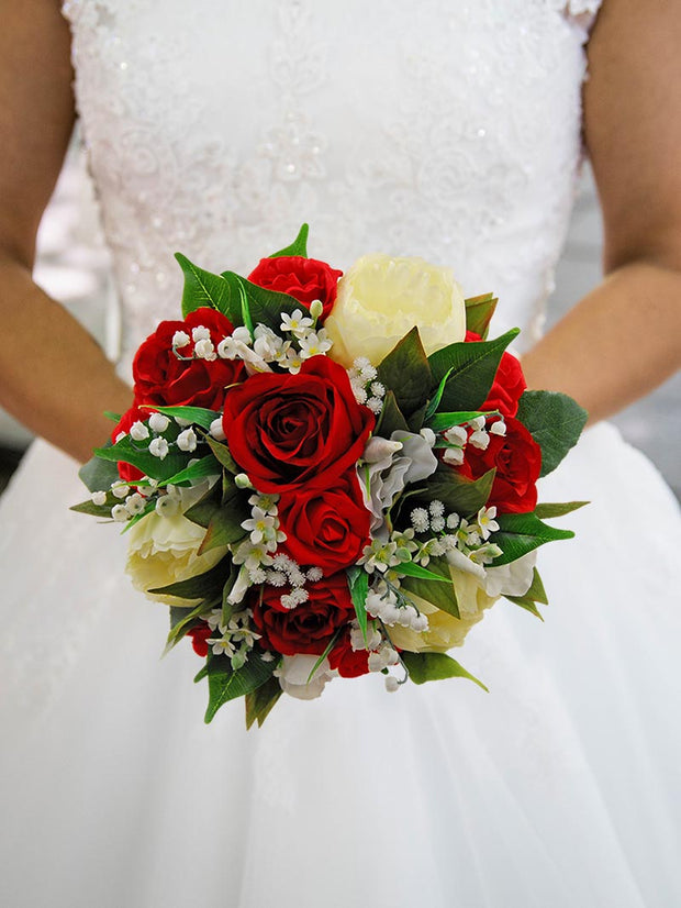 Bridal Bouquet Ivory Peony, Red Roses, Stepanotis & Lily of the Valley Wedding