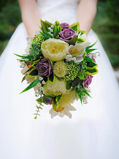 Bridal Bouquet Ivory Peony, Orchid, Gerbera & Plum Roses Wedding Shower