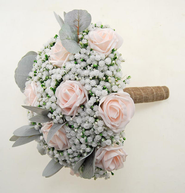 Brides Gypsophila Bouquet with Light Pink Roses & Grey Foliage