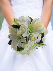 Brides Ivory Lily, Rose & Lilac Lavender Wedding Bouquet